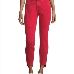 Frame Raw Edge Bright Red Jeans